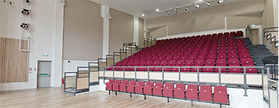 A purpose built two storey music building comprising a 250-seater recital hall, recording studio rock band room, 24 practice rooms, two classrooms and a sound proofed percussion room