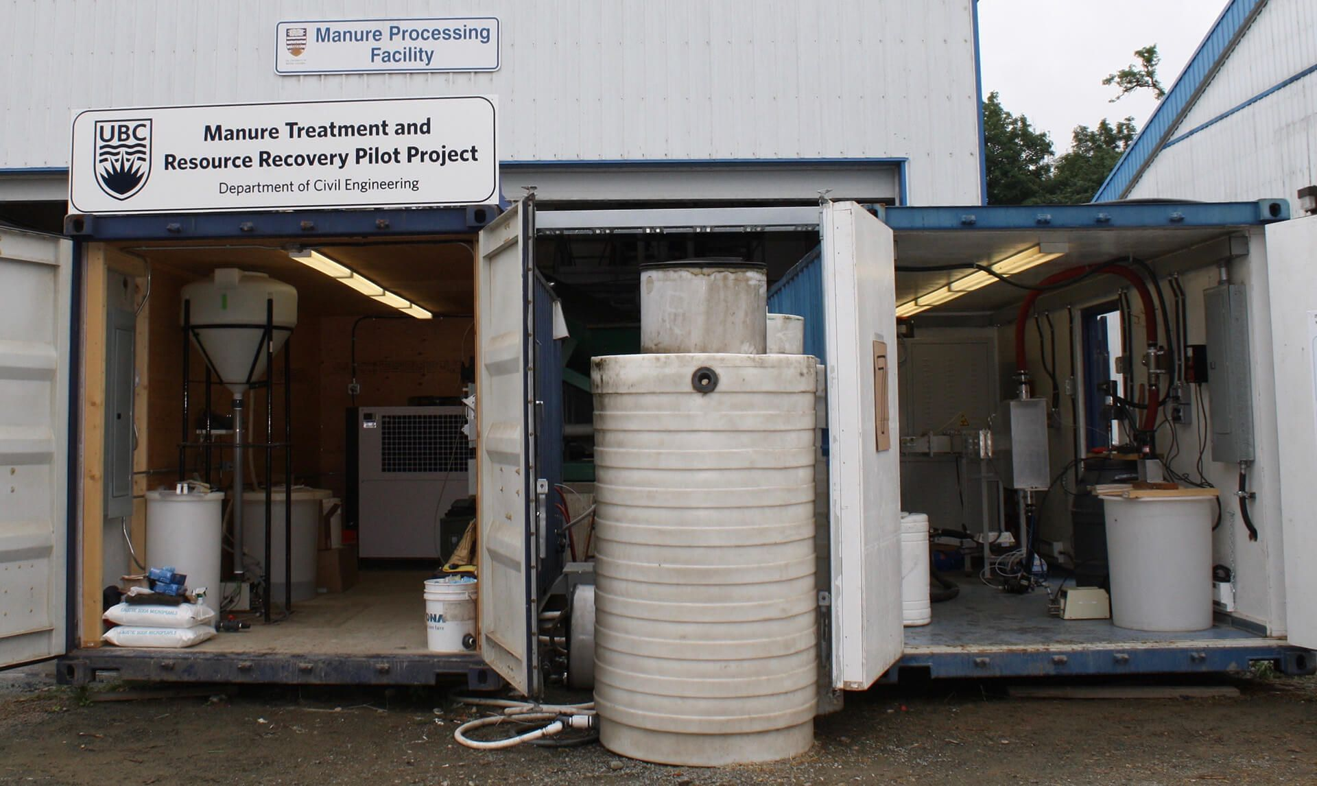 Pilot scale system for treating dairy manure at UBC Research Farm