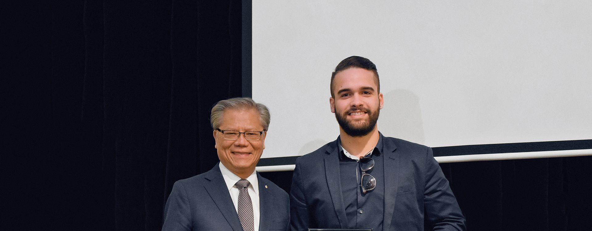 WSP's Jake Berry receives the Inaugural Aboriginal Employee Excellence Award from His Excellency, The Honourable Hieu Van Le AC, Governor  of South Australia