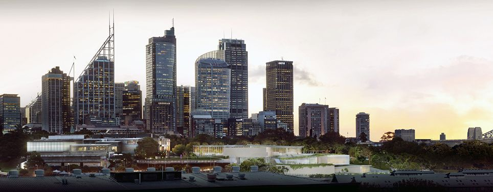Artist impression for the Art Gallery of NSW expansion at dusk.