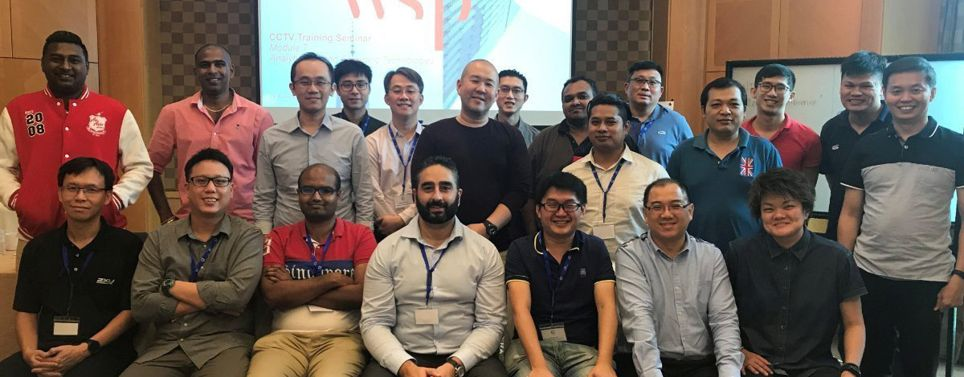 Dr Kevin Sahba, WSP's ANZ Discipline Lead for Security Risk Management and Information Resilience, pictured with attendees of the CCTV masterclass held in Singapore.