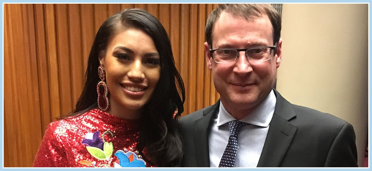 Ashley Callingbull, winner Youth – First Nation award, and WSP's Tim Nykoluk at the Indspire Awards.