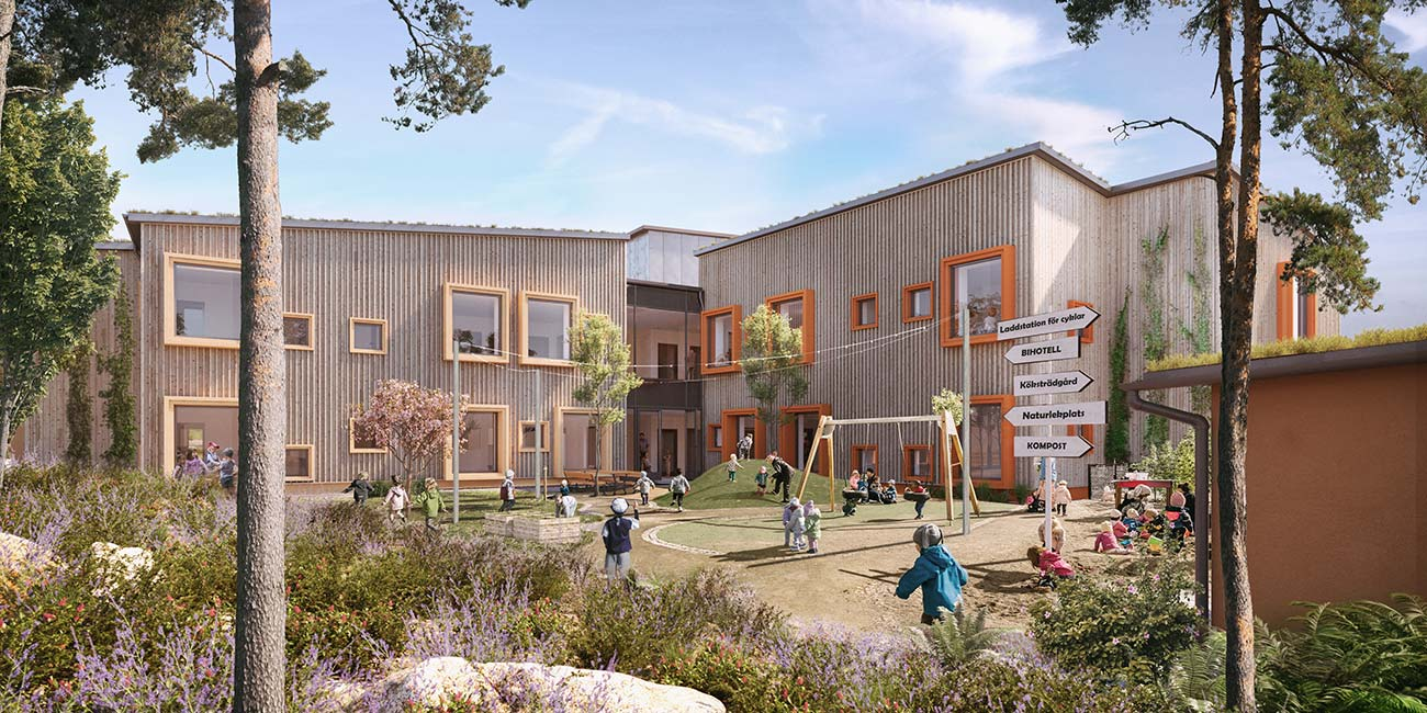 Hoppet fossil-free preschool in Sweden, rendering view. Credit: Liljewall Arkitekter | WSP Project