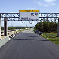 A new toll gantry along 45 Southwest in Austin, Texas.