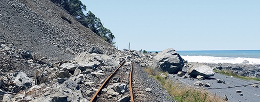 Landslide across coastal road and rail due to Kaikōura earthquake