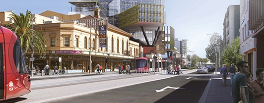 Artist impression of Newcastle Light Rail courtesy of Transport for NSW