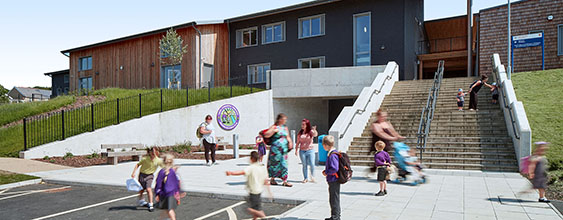 Image of the new building of a primary school in Carmarthenshire, Wales - UK