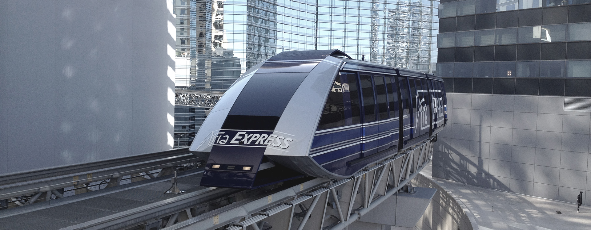 Automated People Mover travelling above ground through Las Vegas