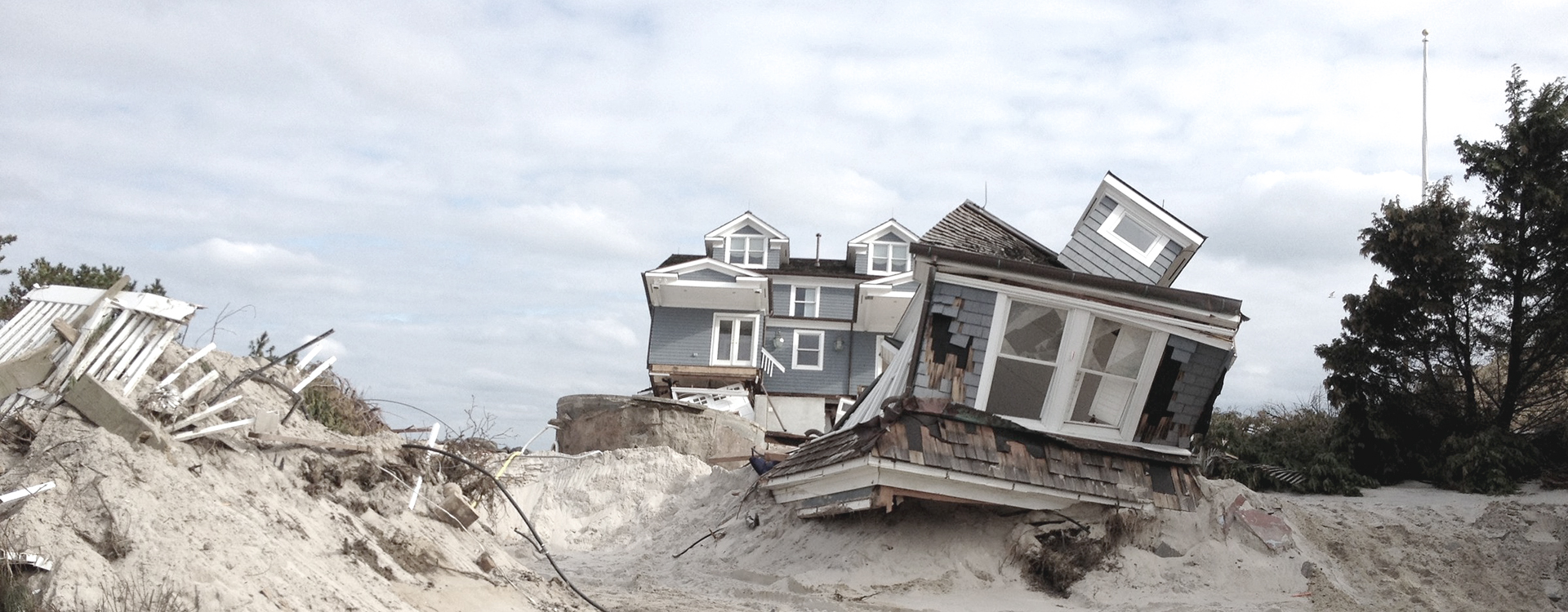 Beach side house destroyed by hurricane Sandy