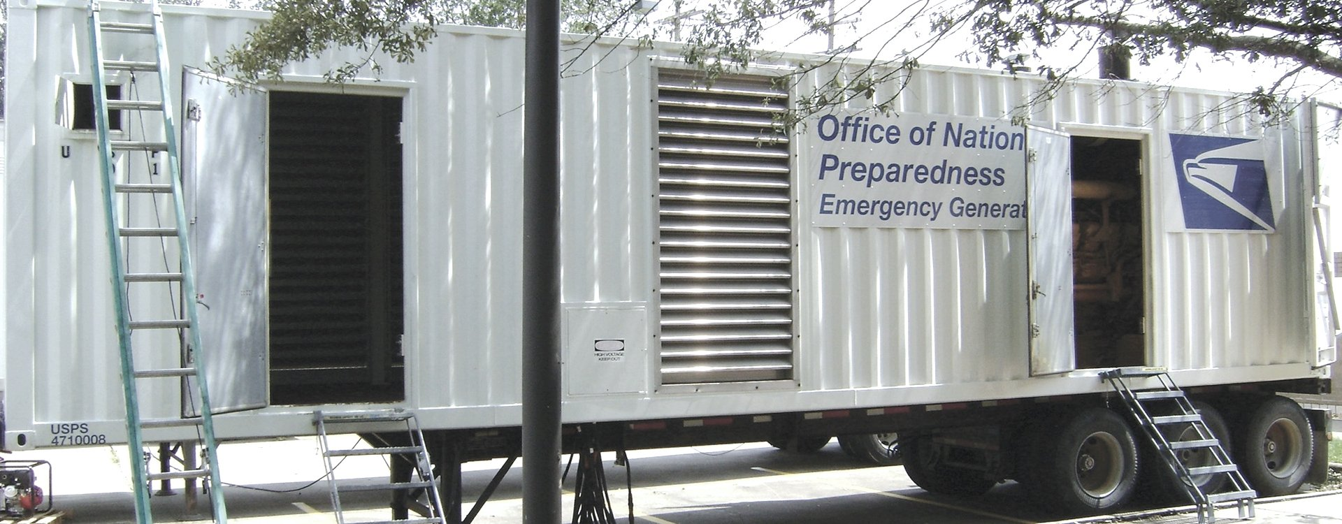 US Postal trailer being used to house emergency generator