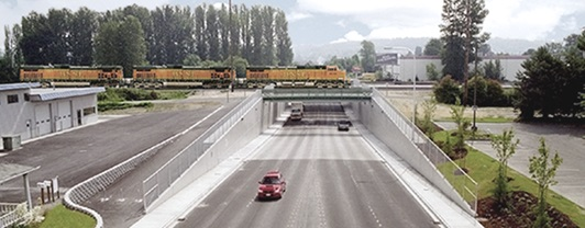 Artist rendering of the 180th street overpass and grade separation, whose construction was managed by WSP