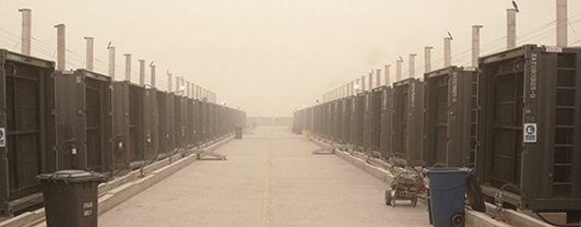 Row of generators at the 35 MW power plant at Al Asad Airbase, built by WSP