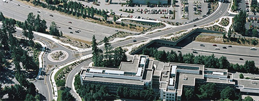 Aerial view of Northeast 36th Street bridge spanning diagonally over State Route 520