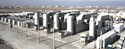 view of Bagram Airfield 56 mega watt power plant built by WSP