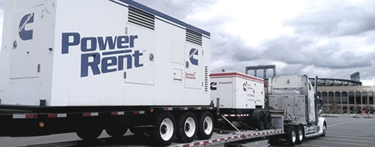 WSP power generator on a tractor trailer in the parking lot of Citi Field