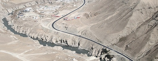 Aerial view of remote Afghanistan road constructed by WSP
