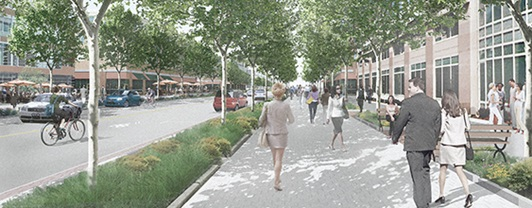 Artist's rendering of tree-lined street at Anacostia-Bolling Joint Base