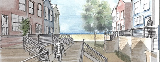 Artist rendering of  Breezy Point beach side homes included in an elevation study provided by WSP