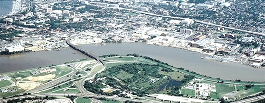 aerial view of the anacostia river running through washington dc into the potomac
