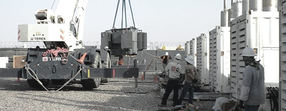 Construction crane moving at transformer at FOB Dwyer