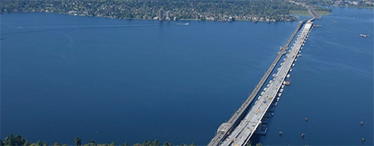 Aerial view of State Route 520 Floating Bridge across Lake Washington