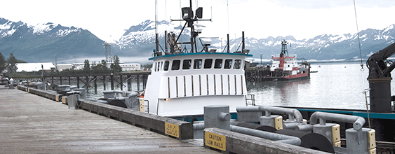 Floating wharf in Valdez, Alaska