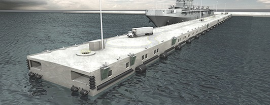 Artist rendering of floating cement pier with ship docked along side
