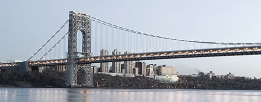 Skyline view of George Washington Bridge over the Hudson River, whose design improvements were prepared by WSP
