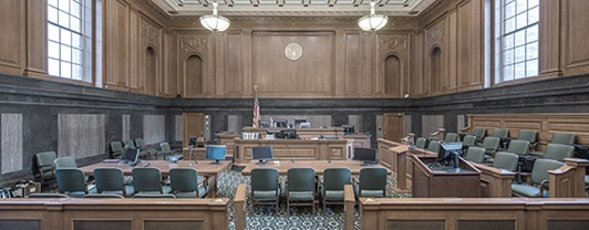 Interior view of  large wooden courtroom in Thurgood Marshall Courthouse in Manhattan