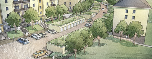 Artist rendering of IMCOM community family housing