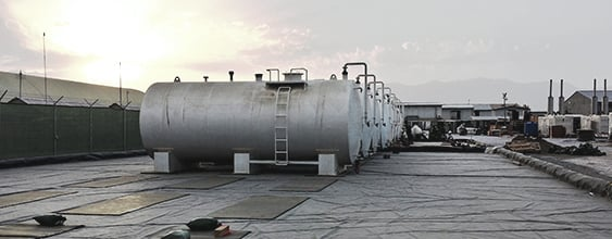 Diesel storage tanks at Afghanistan military compound