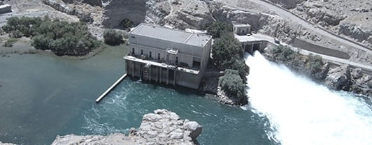 High altitude view of Kajakai Dam in Afghanistan, refurbished by WSP