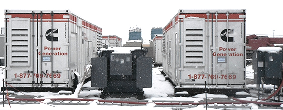 Snow covered outdoor generators at Forward Operating Base Konduz, built by WSP
