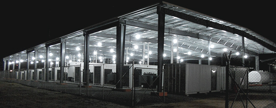 Night time view of 10 mega-watt facility in Liberia, built by WSP