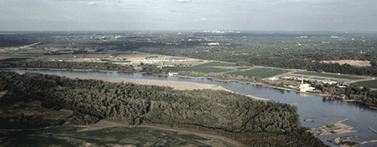 Aerial view of the Missouri River where WSP was selected to manage environmental practices