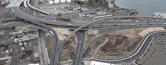 Aerial view of New Haven I95 Interchange project completed by WSP