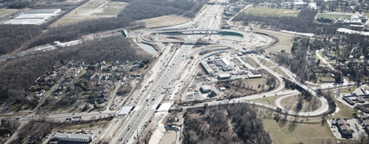 Aerial view of New Jersey Turnpike interchange project completed by WSP