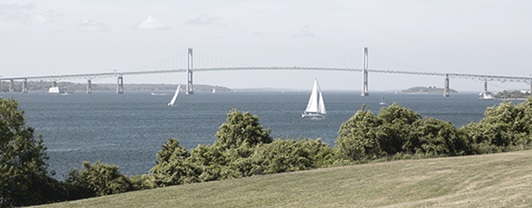 Wide view of the Pell Bridge spanning across the harbor