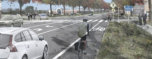 Artist rendering of complete four lane road with grassy medians, bike lanes, and pedestrian walkways