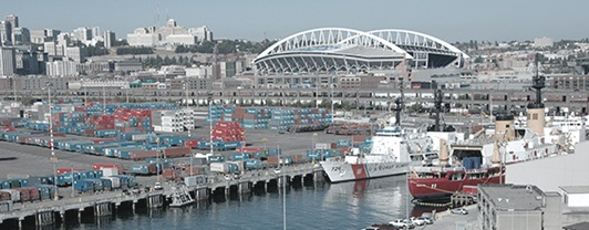 Daytime view of Pier 36 Berth Alpha with sunny Seattle day in the background