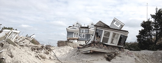 Remains of a house on the beach after hurricane Sandy