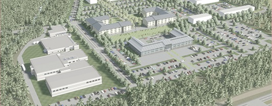 Artist Rendering aerial view of US Special Operations Forces training facility designed by WSP