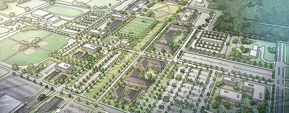 Artist rendering aerial view of Fort Rucker area development plan by WSP