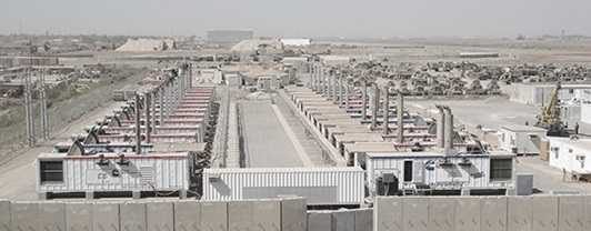 Wide view of the Victory Base generator complex in Iraq, build by WSP