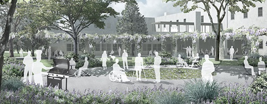 Artist rendering of wounded warrior outdoor park depicting patients enjoying normal outdoor park activities