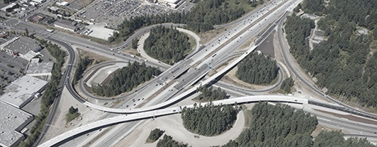 Aerial view of interstate 5, SR 161, SR 18 junction after redesign by WSP