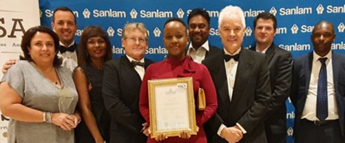 WSP team accepting SAPSA award