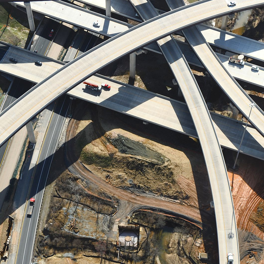 Belief and Purpose image, crisscrossing highways interchange